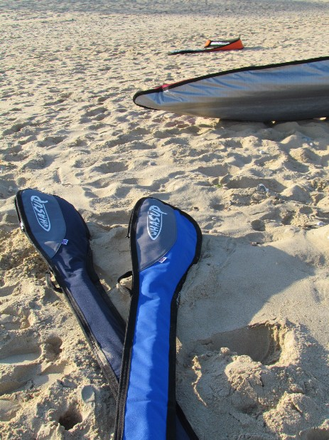 whasup paddle bags on beach